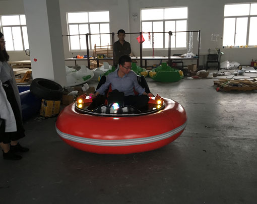 Our Sales Manager In The Inflatable Bumper Boat